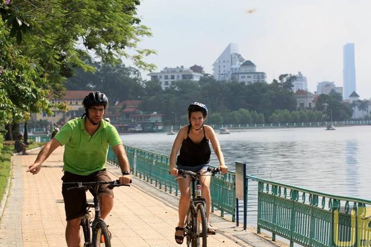 Biking around Hoan Kiem Lake