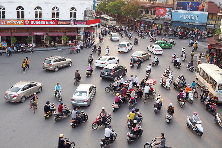 Crazy traffic in hanoi