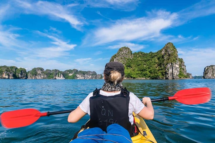 Go kayaking in Halong Bay