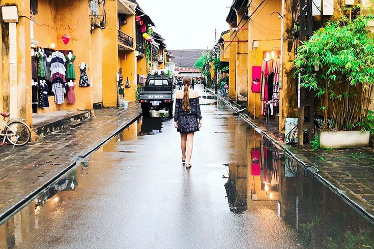 Hoi An road on a rainy day