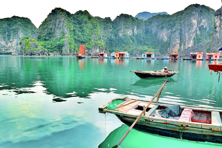 The limestone cliffs of the Halong Bay UNESCO World Heritage site