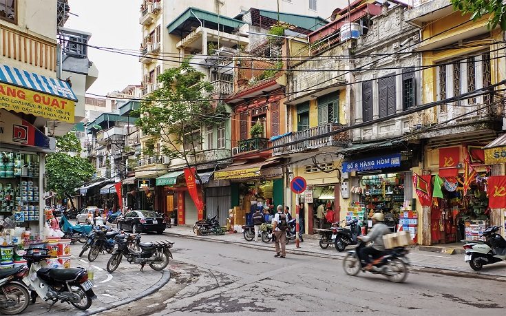 Hanoi Old Quarter crossroads