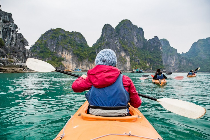 Kayaking through Halong Bay - Best Vietnam experiences