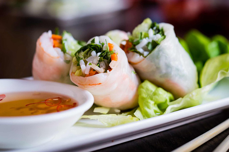 Summer rolls at Ben Thanh market