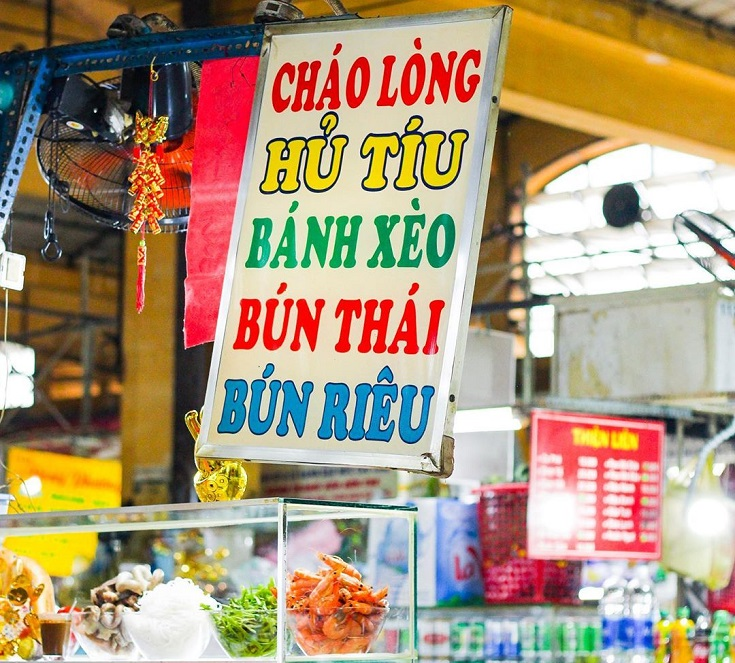 Food stores at Ben Thanh market