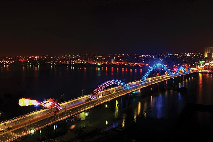 Dragon bridge at night from above