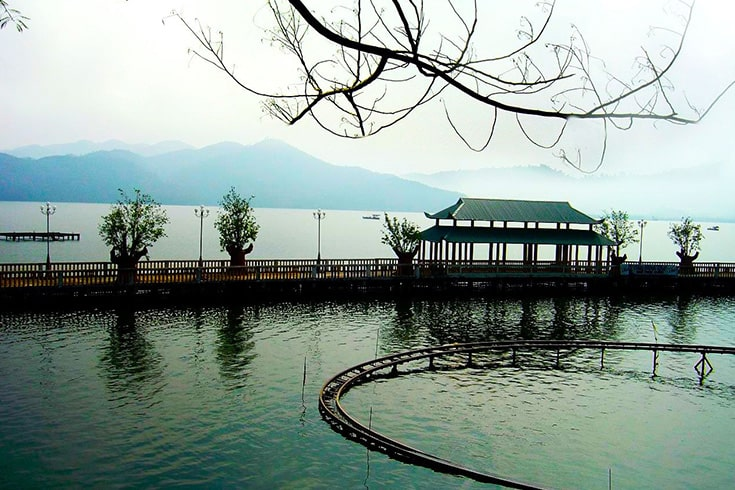 Nui Coc Lake in the mist