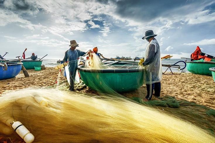 local fishermen at beach of Ke Ga