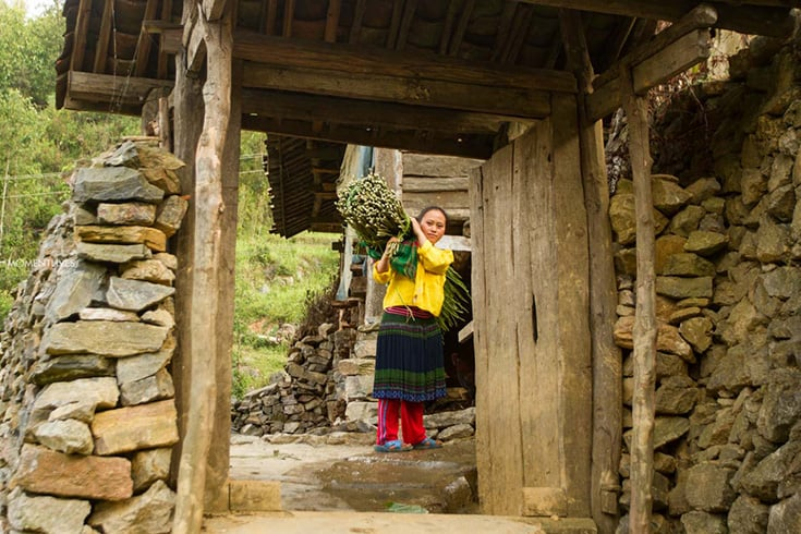 Gate of traditional hmong house in Ha Giang