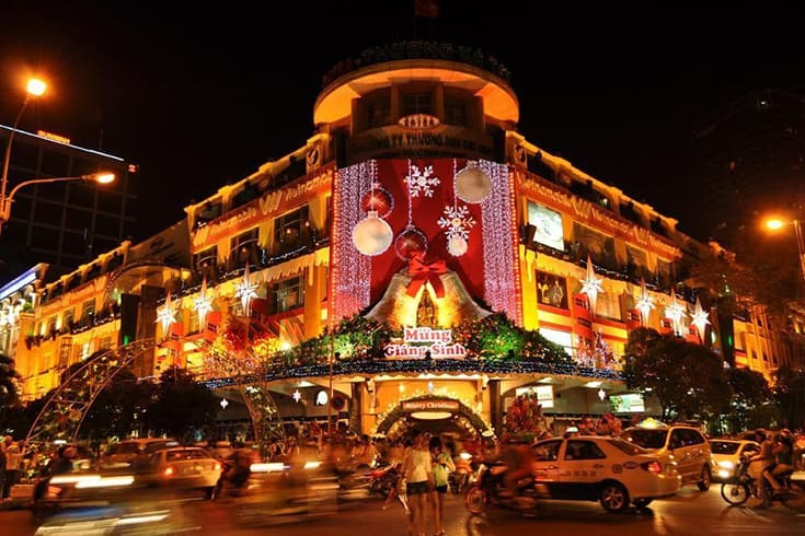 Vietnam streets in Christmas