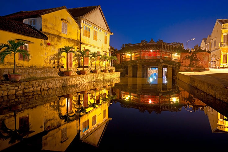 Bridge pagoda in Hoi An at night