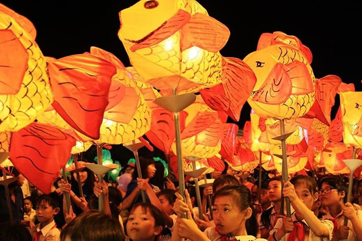 Celebration on Animated Streets at Vietnamese mid-autumn festival
