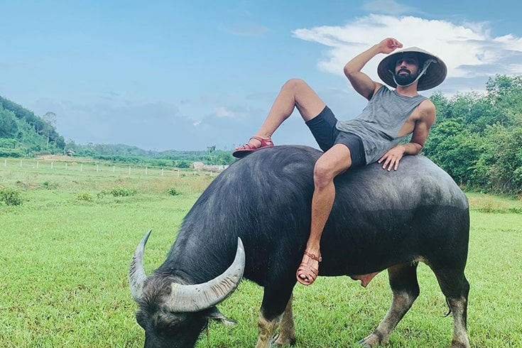 Tips on riding a water buffalo in Hoi An