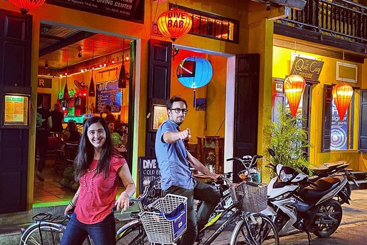 Tourists enjoy Dive Bar in Hoi An