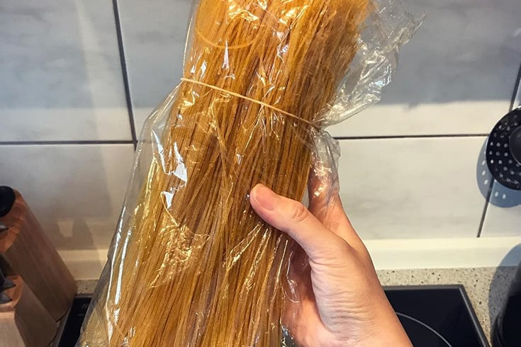 A package of dry corn noodles