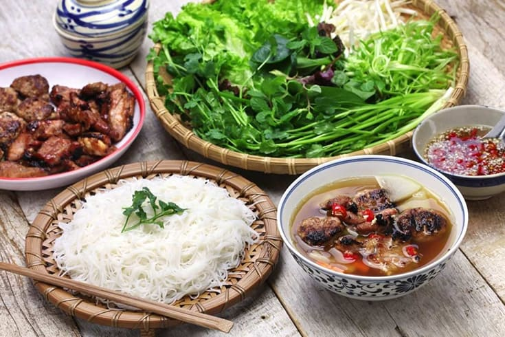 Bun cha made from rice vermicelli
