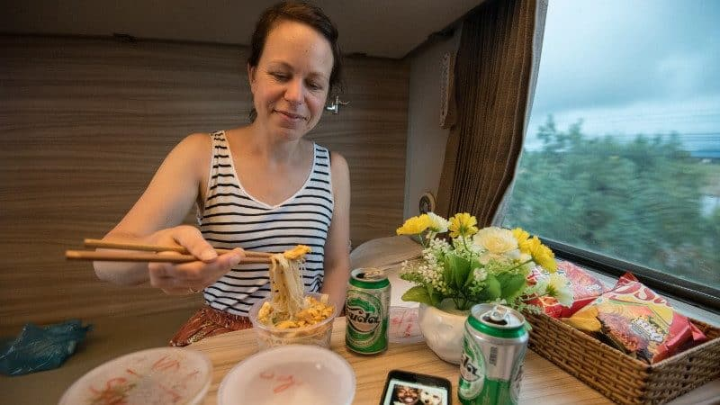 Food on overnight train in Vietnam