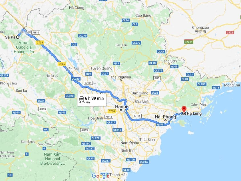 How far is it from Sapa to Halong bay - Map