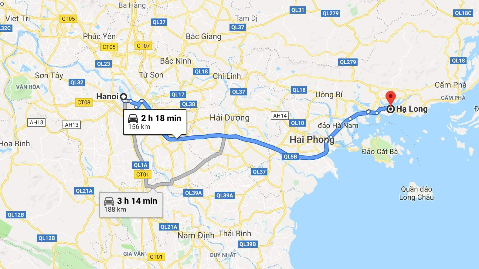 Distance from Hanoi to Halong bay