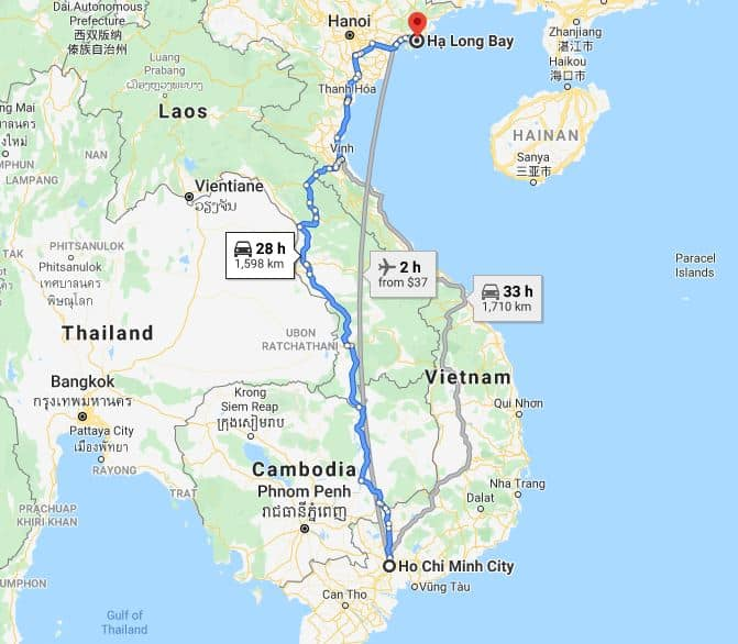 Map of distance from Ho Chi Minh City to Halong Bay