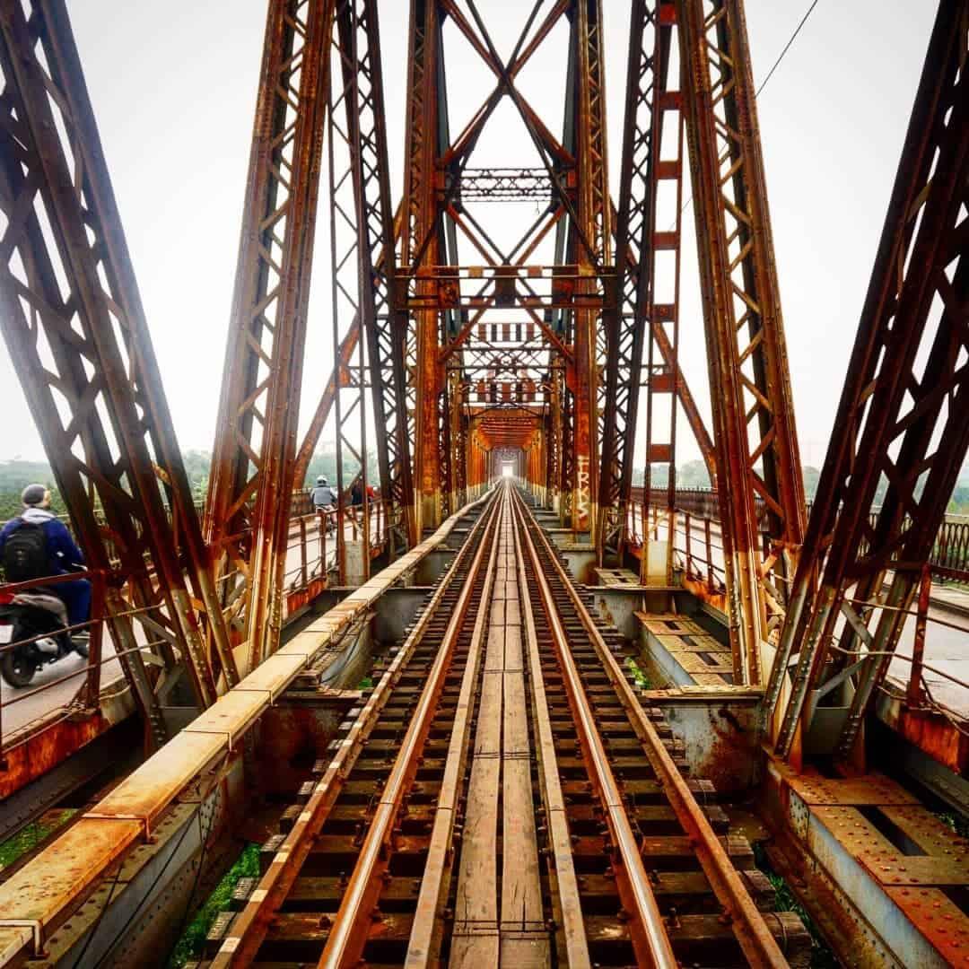 See Long Bien bridge in the afternoon in Hanoi