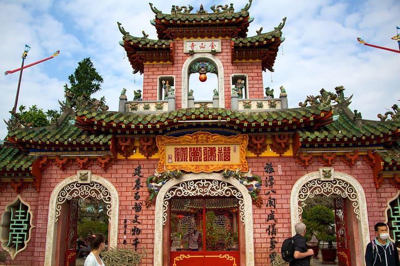 Visiting a temple during Hoi An lantern festival