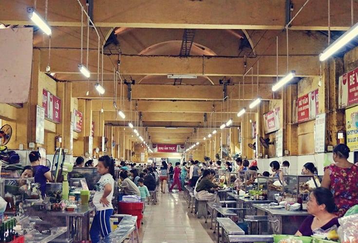 Inside food court in Con Market