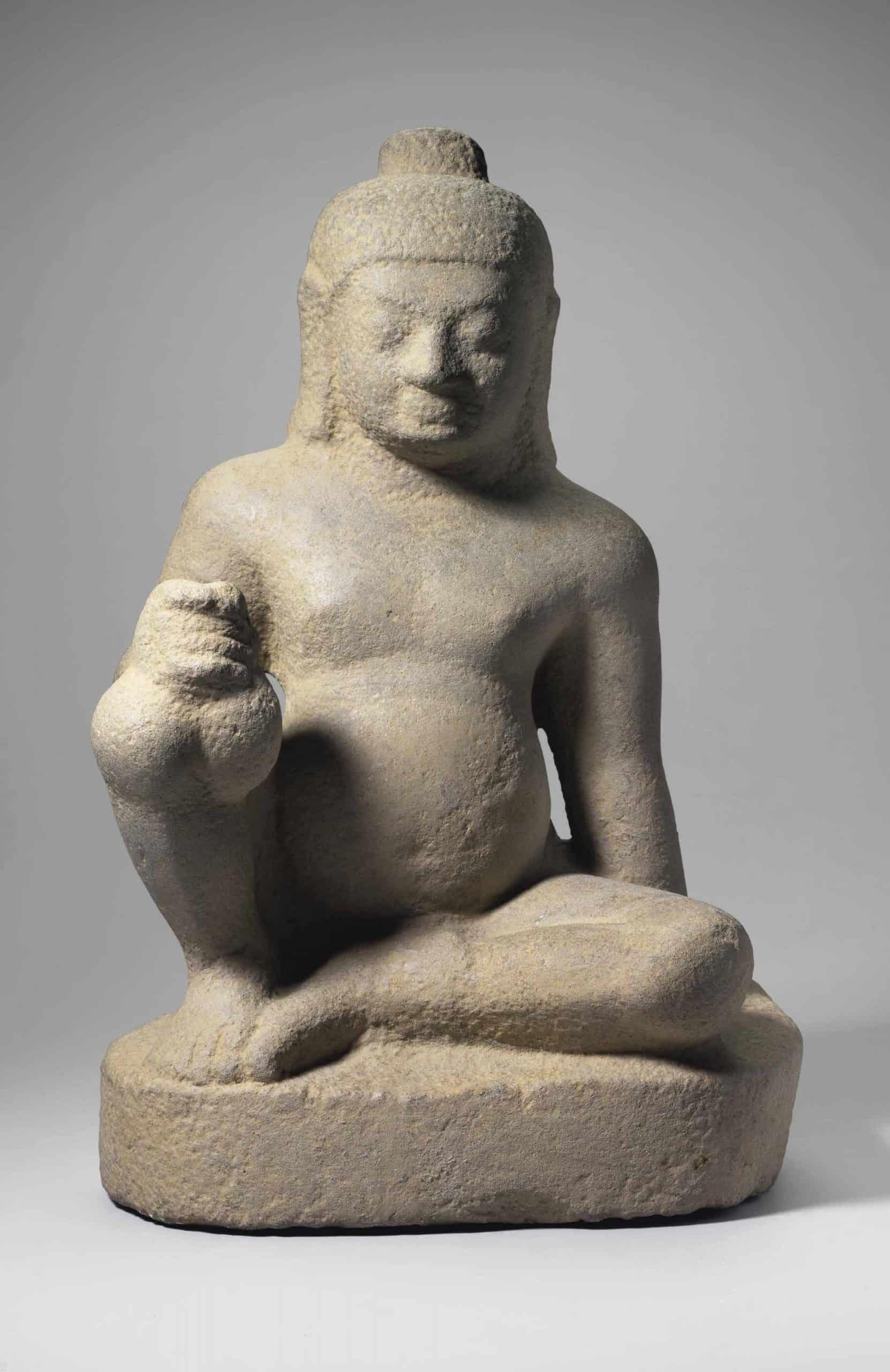 A buff sandstone Figure of Kubera - Oc eo culture relics