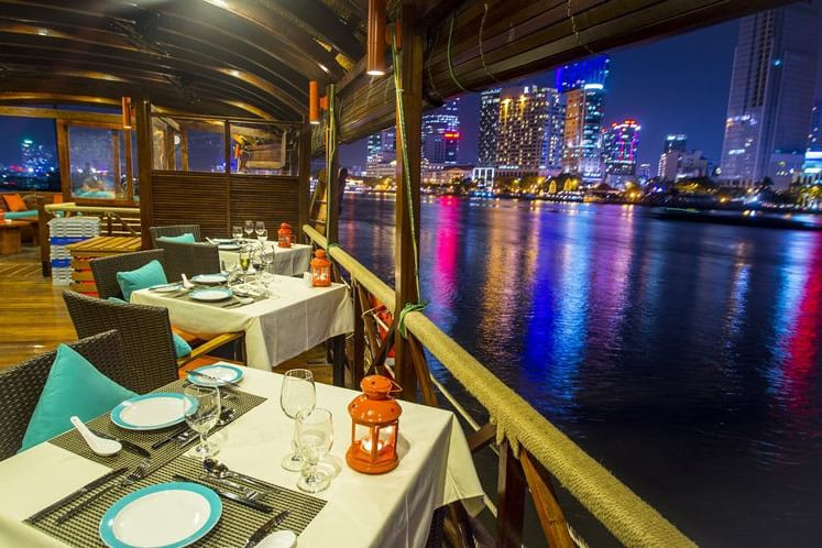 Dine on the restaurant nearby Saigon river