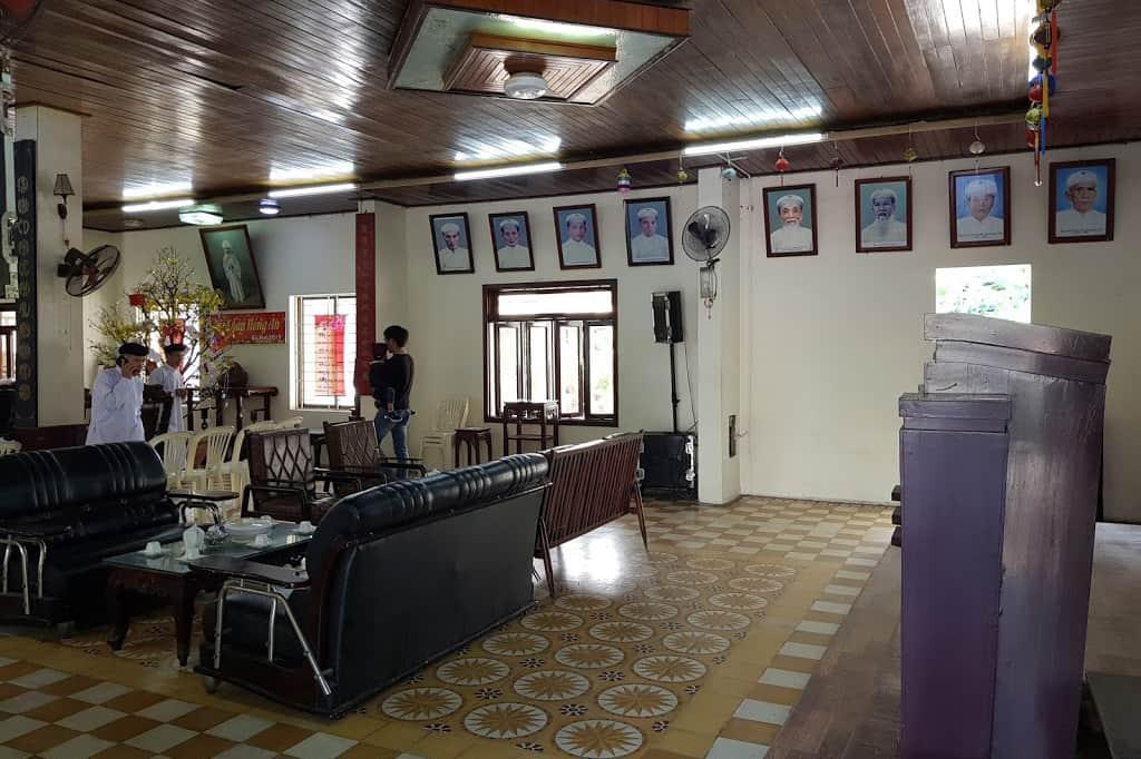 Inside Cao Dai temple Da Nang