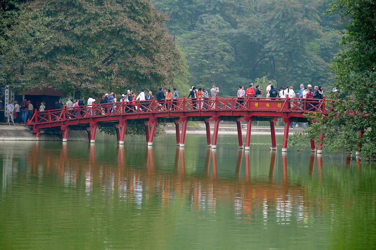 The Huc bridge near Ngoc Son temple