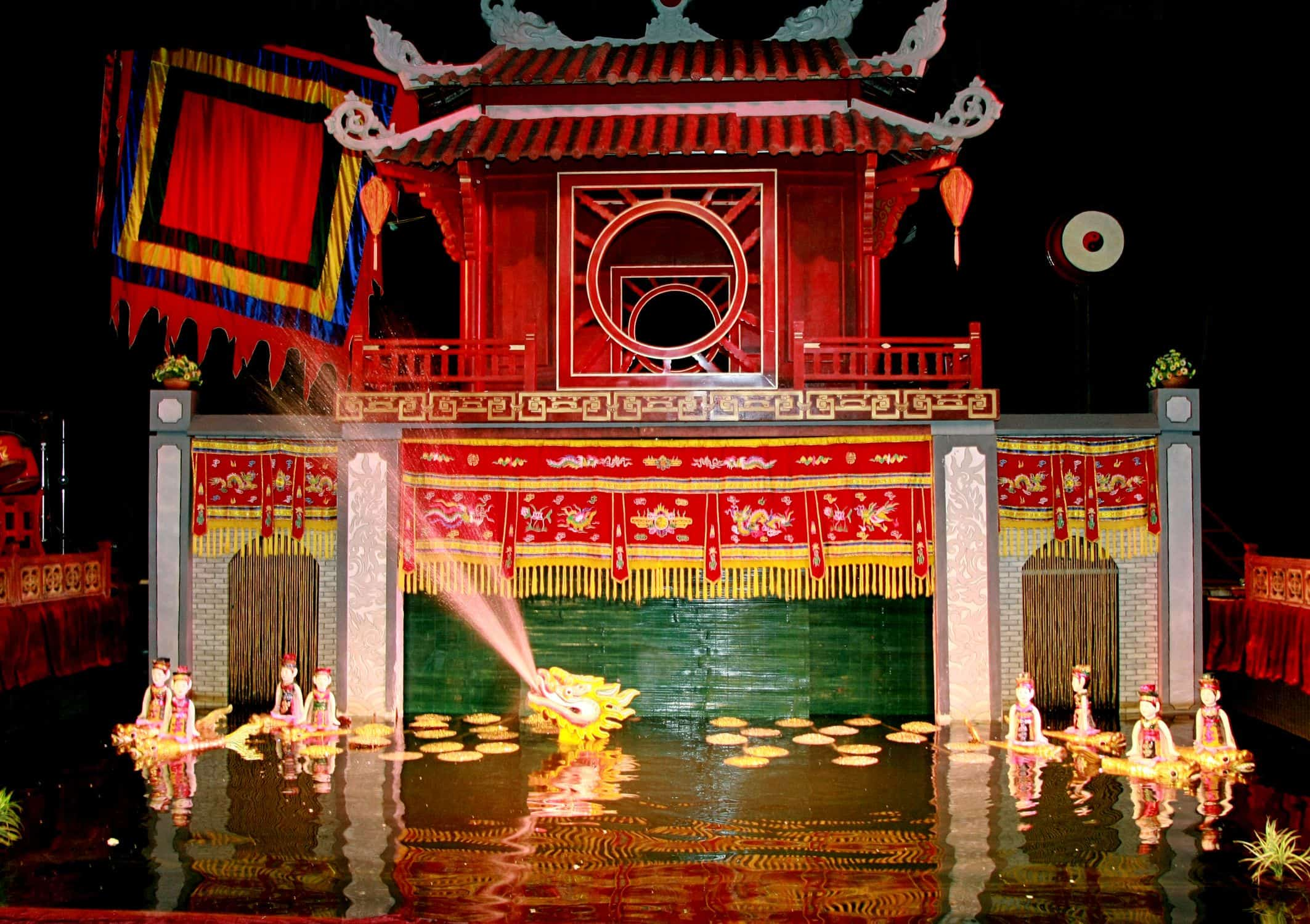 Visit Thang long water puppet theatre near Ngoc Son temple